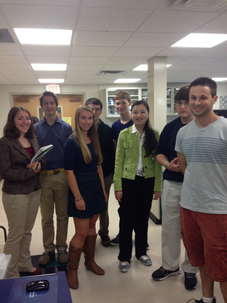 Science ambassador, Charlie Feigin, gives students a tour of the Center (September 2013)