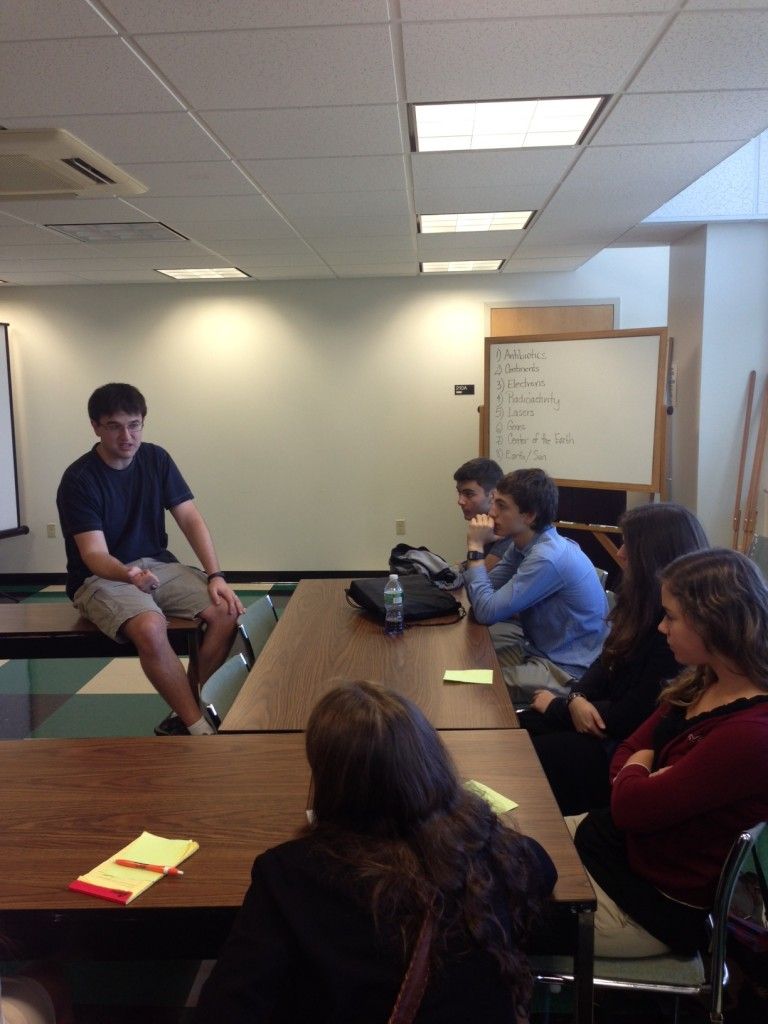 Science ambassador, Tom Heider, leads a discussion with his group (September 2013)