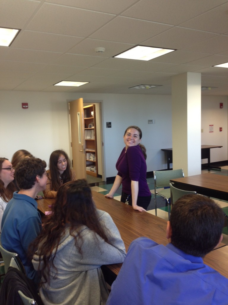 Science Ambassador, Amanda Dupuy, leads a discussion with High School  students visiting the Center (September 2013)
