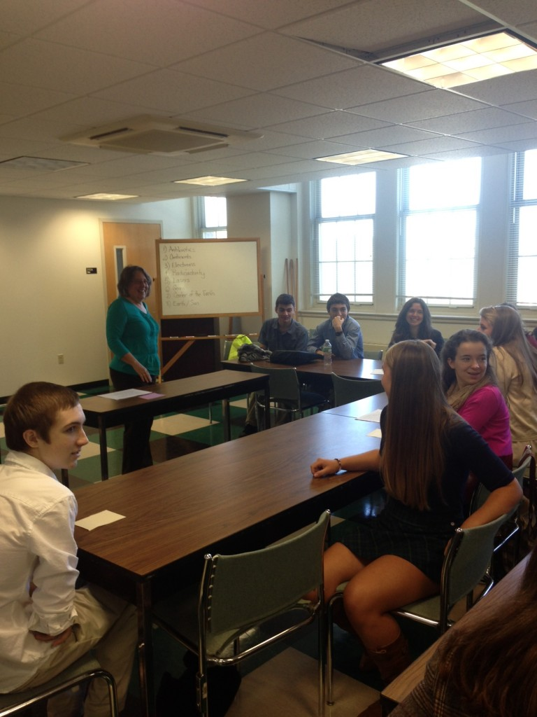 Founding Director of the CAGT, Dr. Linda Strausbaugh, leads a discussion with a group of High School students.  September 2013