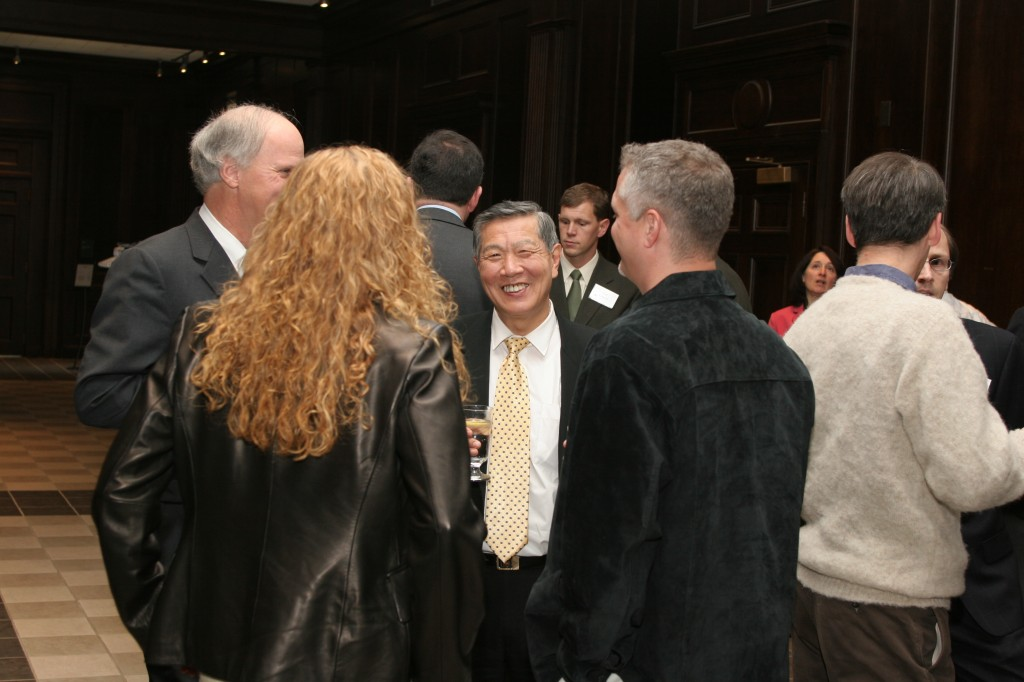 Henry C. Lee, speaking with former MCB Department Head Phil Yeagle and Dr.'s Rachel and Michael O'Neill (MCB faculty).