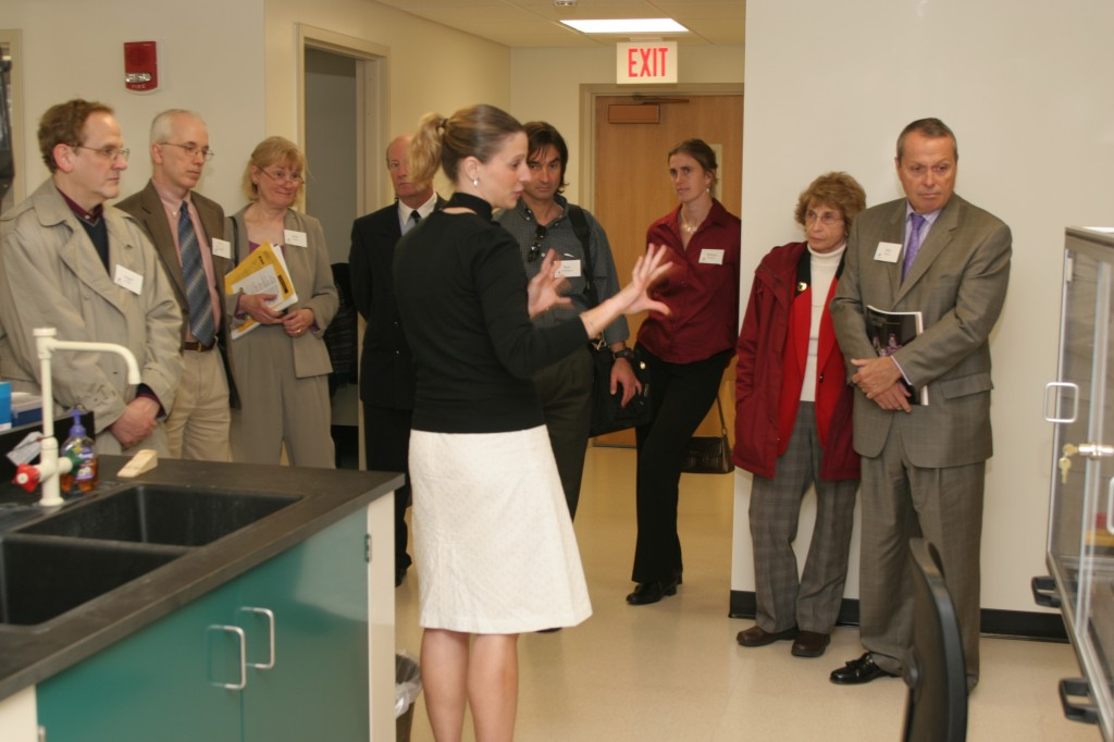 Graduate Student, Cara Statz, leads a tour of the CAGT.